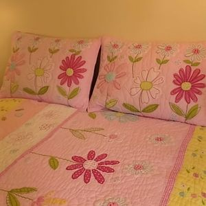 Pottery Barn kids floral and pink quilt+shams.